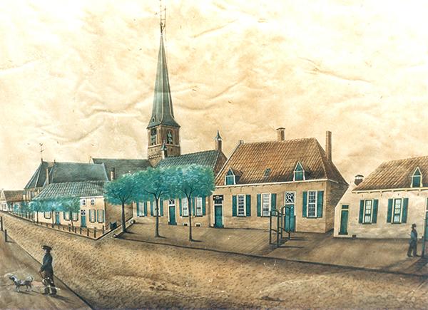 Langstraat en kerk, Wijhe, 19e eeuwse tekening