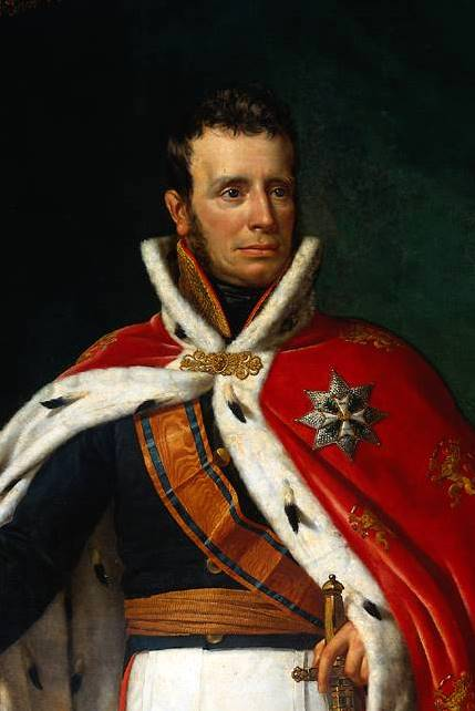Koning Willem I, in kroningsmantel, detail.